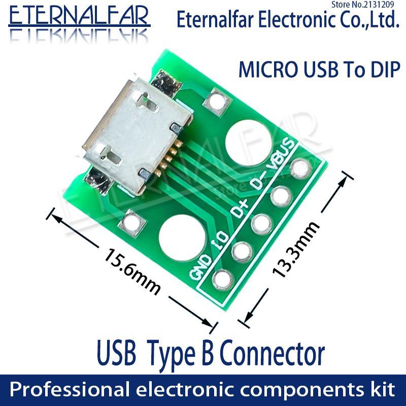 MK5P микро USB для DIP адаптер 5pin гнездовой разъем типа B PCB конвертер макетная плата мини-переключатель для SMT материнское сиденье