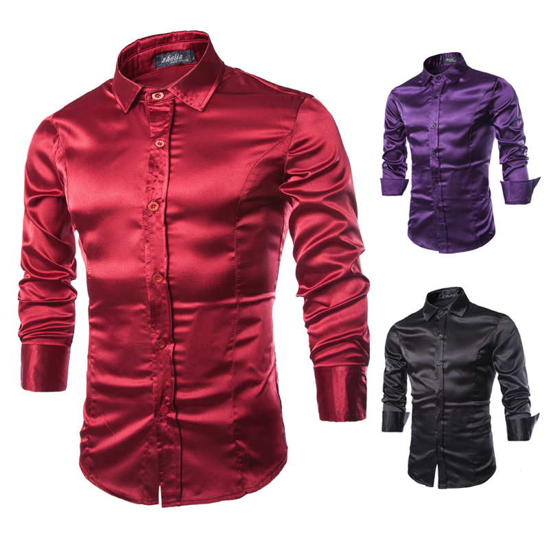 New Men's Chiffon Shirt Slim Fashion Couple Party Clothing Show Discount Seasonal Discount Sales