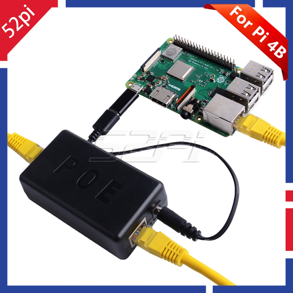 52Pi Gigabit Raspberry Pi 4 ( Model B ) / 3B+  Active PoE Splitter USB TYPE-C 48V To 5V PoE Switch Power Over Ethernet Cable