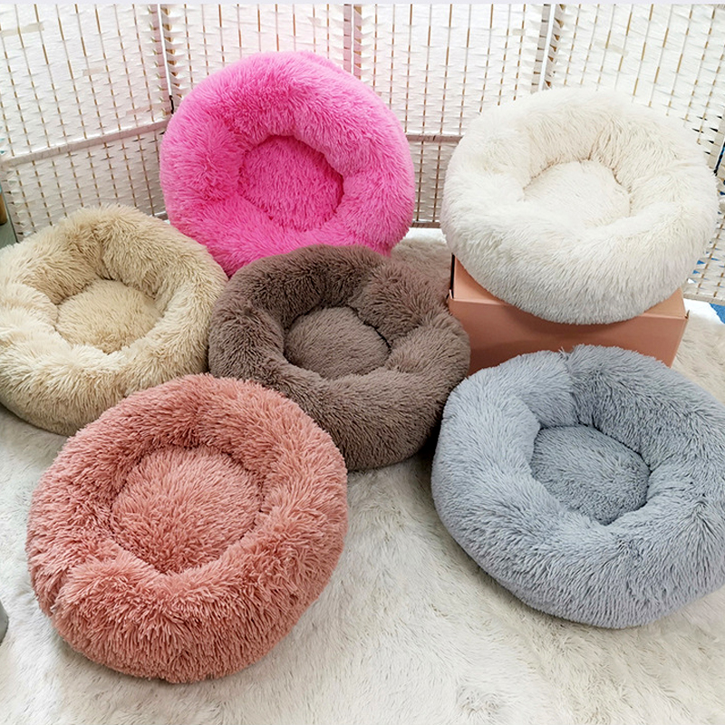 Cong Fee Ultra Soft Washable Round Dog Bed Long Plush Dog Kennel Cat House  Winter Warm Sleeping Pet Bed