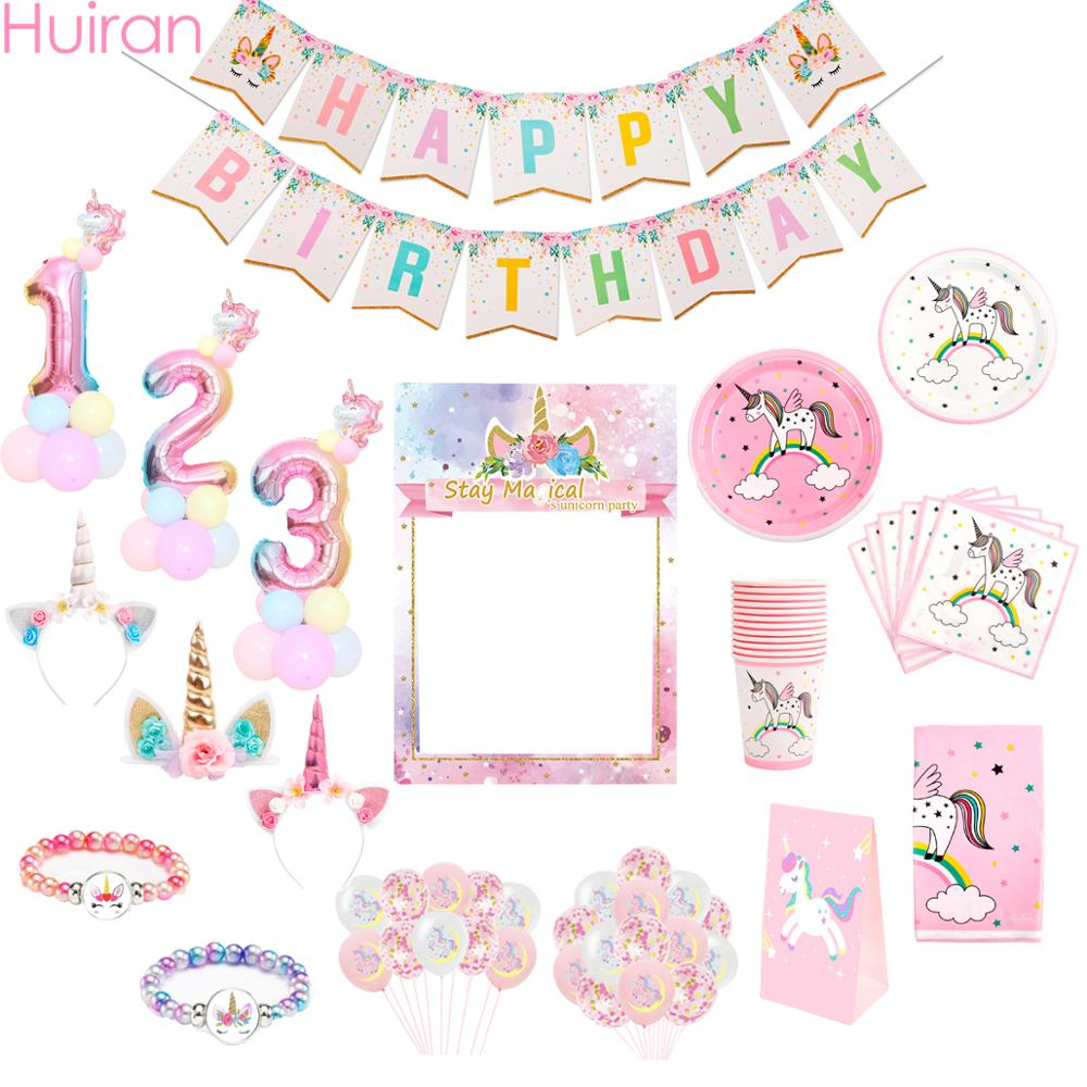 Huiran Unicorn Birthday Party Decor Kids Favor Unicorn Party Decor Unicorn Balloons Unicornio Decoration Baby Shower Girl Boy
