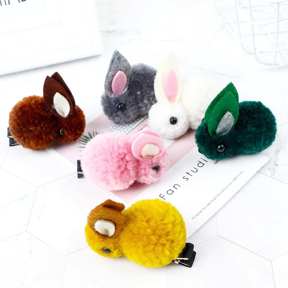 Korean Hair Clip Animals Lovely Rabbit Hairpins For Girls Hair Accessories 3D Plush Rabbit Ears Cute Kids Baby Hair Clips