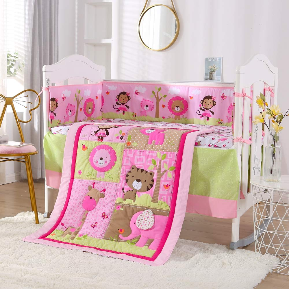 Animal,baby Bedding Set Baby Crib Bedding Set - 100% Cotton -7 Piece Nursery Crib Bedding Sets For Girls Kit De Berço