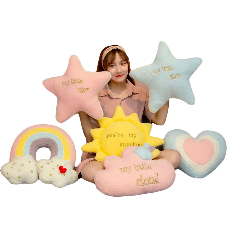 cute rainbow cloud  sun star throw pillow cushion rainbow plush toy baby kids bedroom decoration toy pillow sofa cushion
