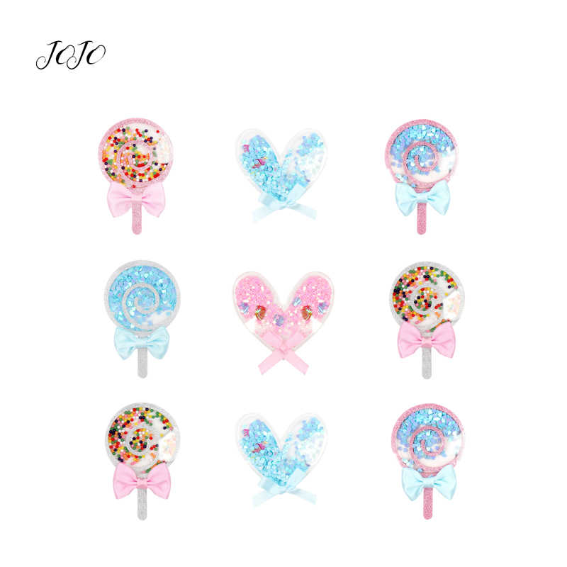 JOJO BOWS 1pc Planar Resin Patches For Apparel Bow Heart Love Lollipop Accessories For Crafts DIY Hair Bows Headwear Decoration