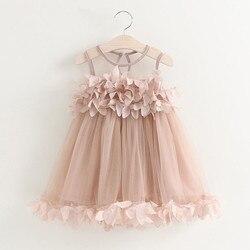 Летнее платье для маленьких девочек s Пышное Платье для принцессы без рукавов, с узором из платье-пачка для маленьких девочек одежда для дет...