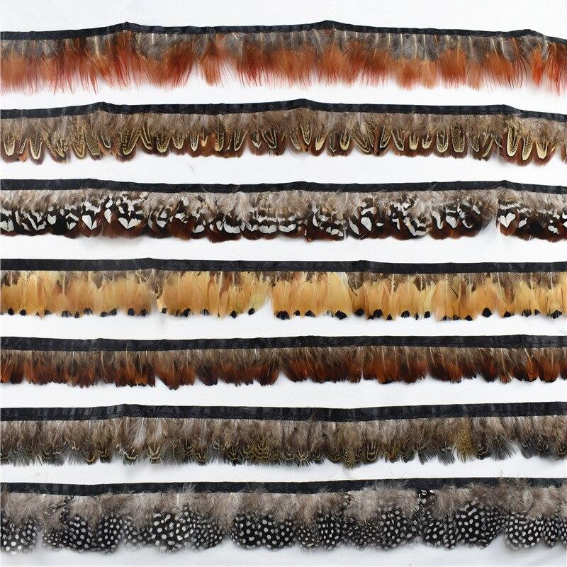 10 м/лот натуральные перья фазана планка лента с бахромой отделка с атласным шитьем перья для рукоделия костюмы декоративные Шлейфы