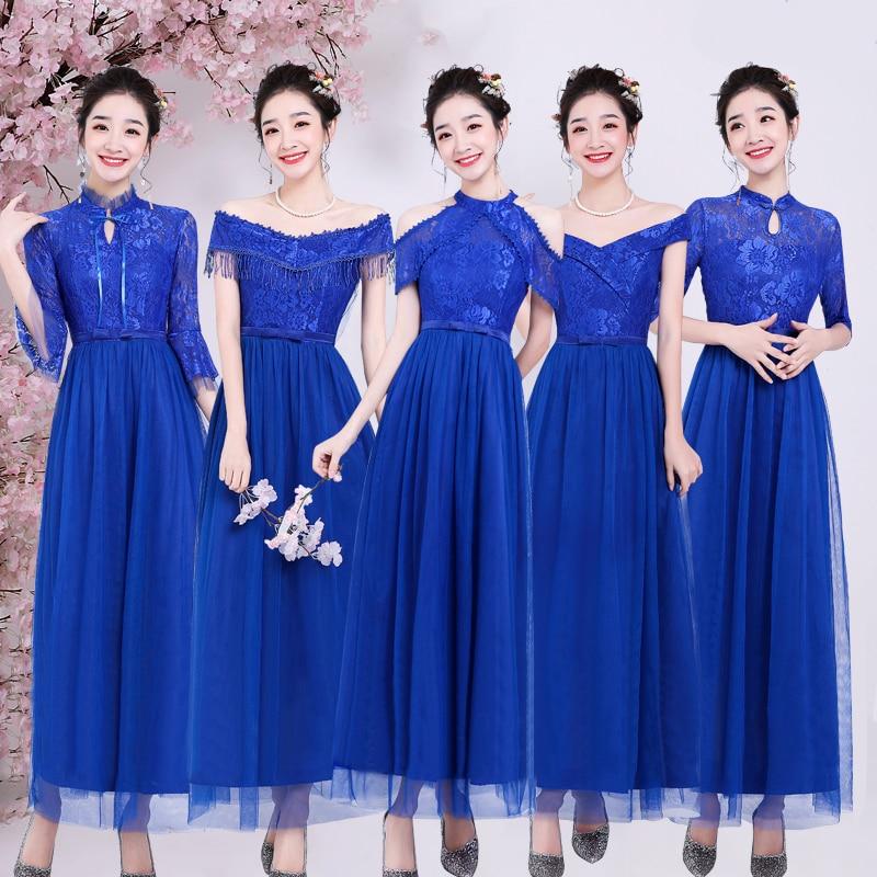 Vintage Royal Blue Bridesmaid Dress Junior Vestido Largo Sirena Elegant Dress Women For Wedding Party Host Sexy Dress Prom Club