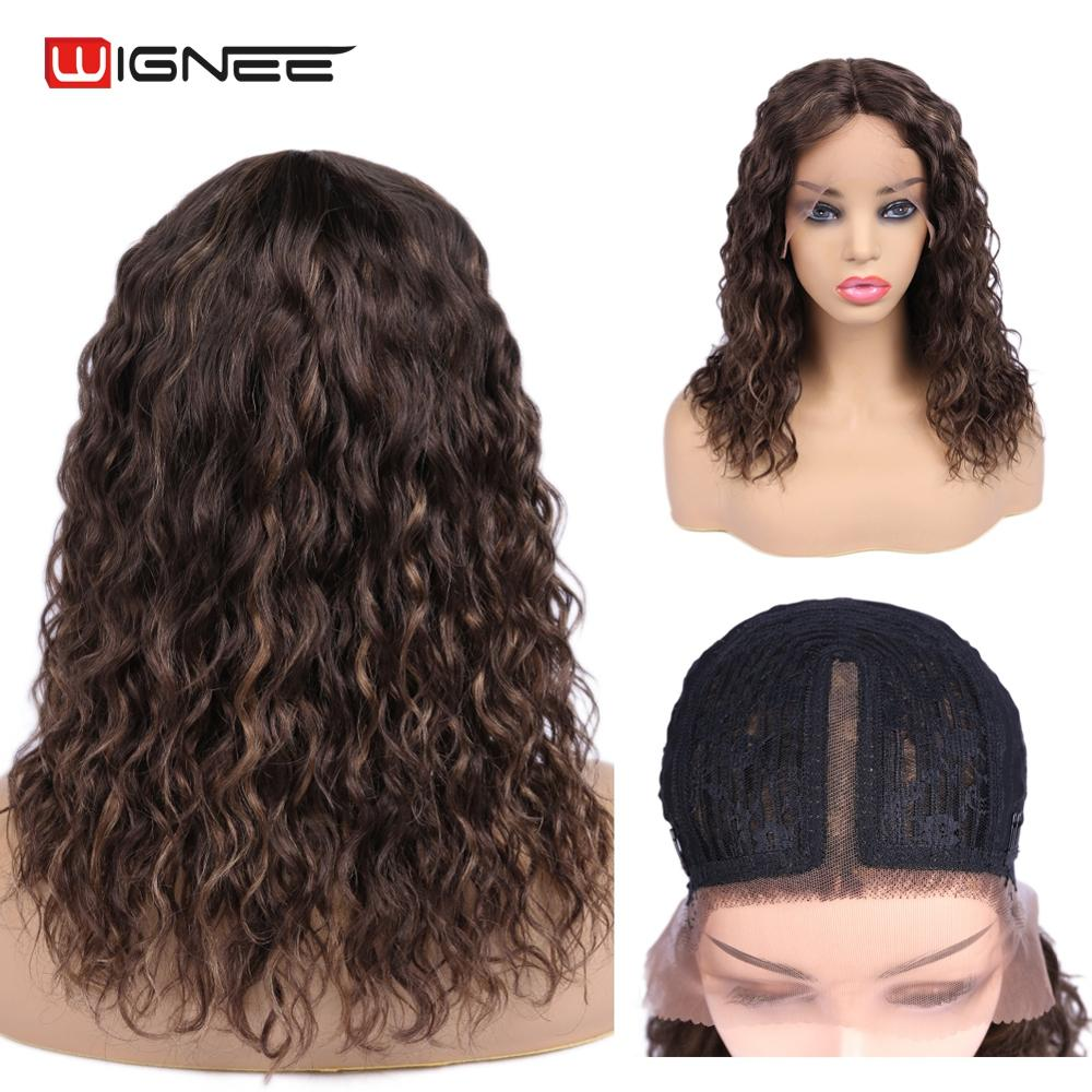 Wignee Lace Part Short Curly Human Wigs For Black/White Women Preplucked Hair Frontal With Baby