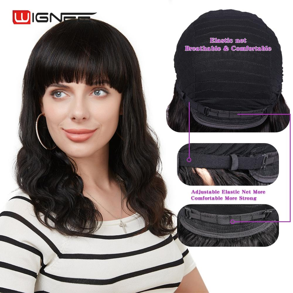 Wignee Body Wave Human Hair Wigs With Free Bangs For Black Women Remy Brazilian Hair 150% High Density Natural Hairline Wavy Wig
