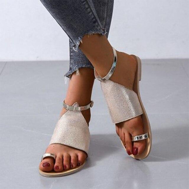 Sandalias de verano 2020, zapatos de mujer de talla grande 43, moda informal femenina, hebilla en el tobillo para zapatos, sandalias de mujer, calzado antideslizante para playa 5