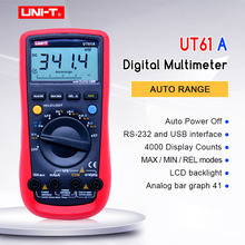 Digital Multimeter UNI-T UT61A AC/DC voltage Current Ohm meter  Capacitance Resistance Frequency Diode Tester NCV LCD Backlight lcd digital multimeter dc ac voltage current meter ncv capacitance resistance diode tester voltmeter ammeter ut39c
