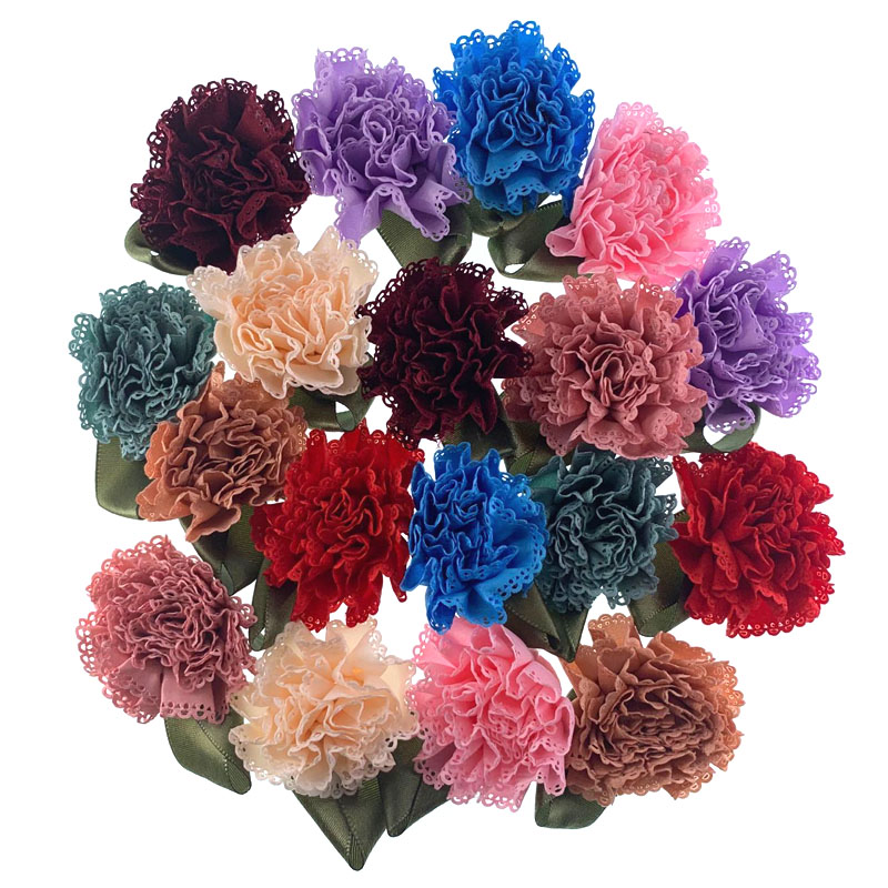 5Pcs Satin carnation leaf artificial flowers applique for wreath scrapbook wedding decoration craft fake flower 5.5cm