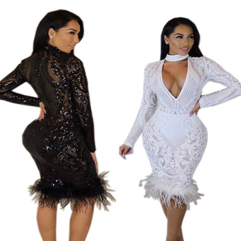 Sequin Sparkle Glitter Long Sleeves with Feather Dress
