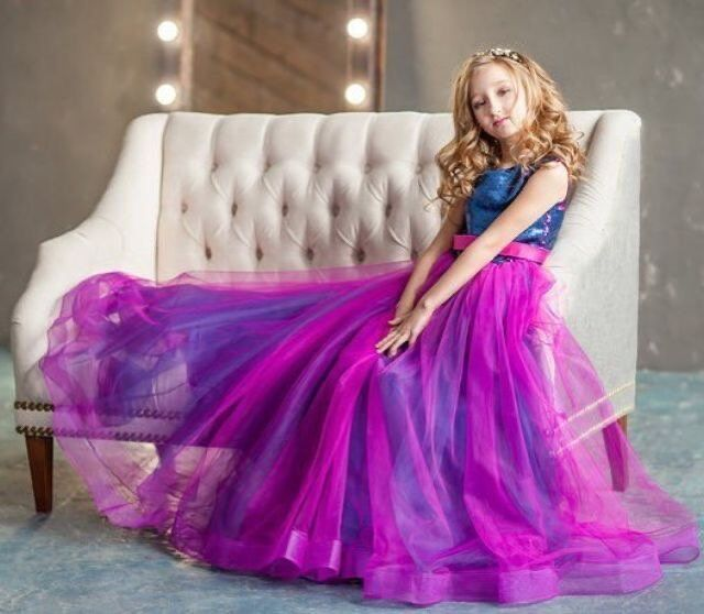 Bling Bling Sequine Princess Flower Girls Dresses Ball Gowns Sequine Two Color Changing Top Flower Girls Dressess Purple  Dress