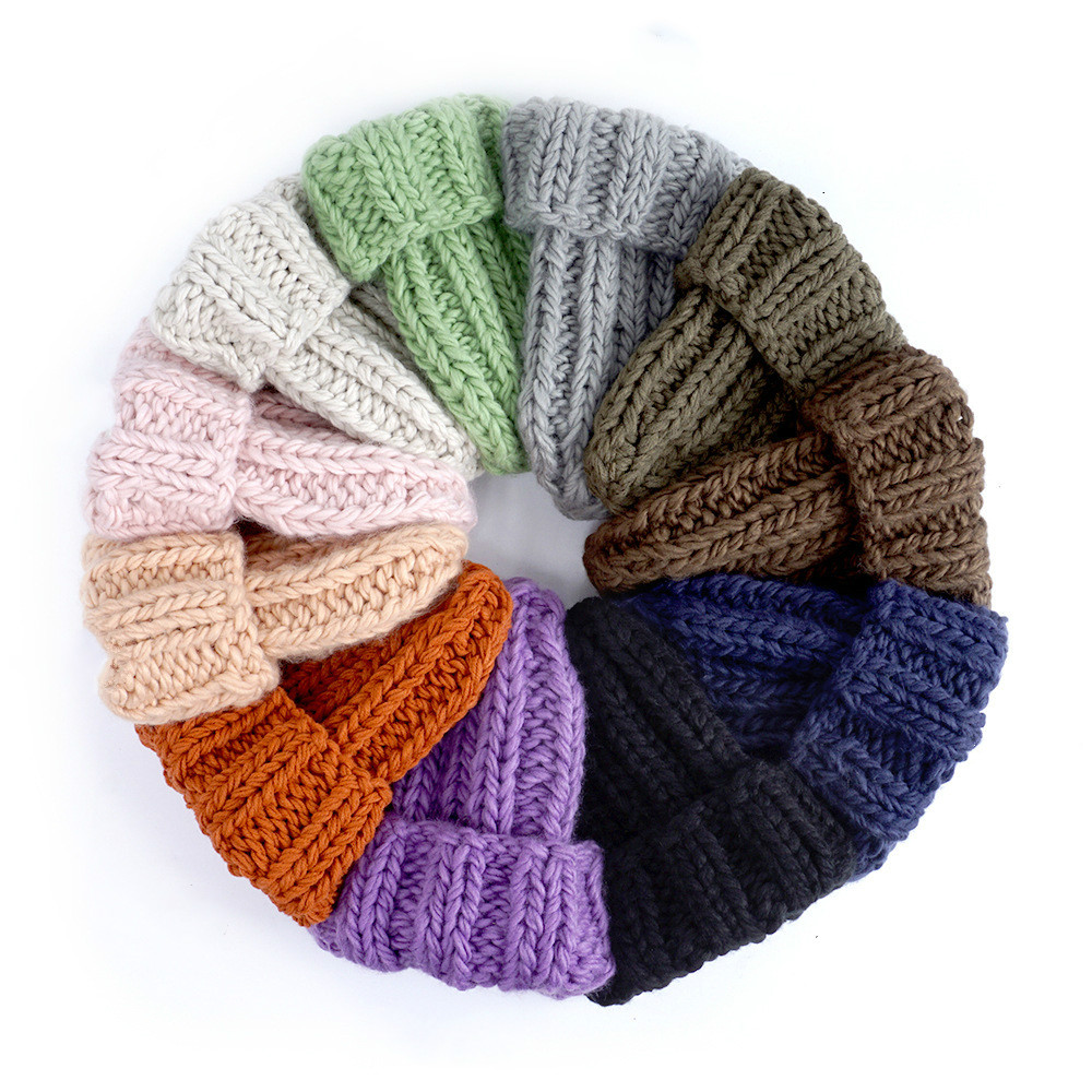 Women Winter Knitted Beanies Hat Thick Soft Warm Coarse Large Knitted Solid Hat Female Ice Ski Bonnet Skullies Beanies Hat Cap 24