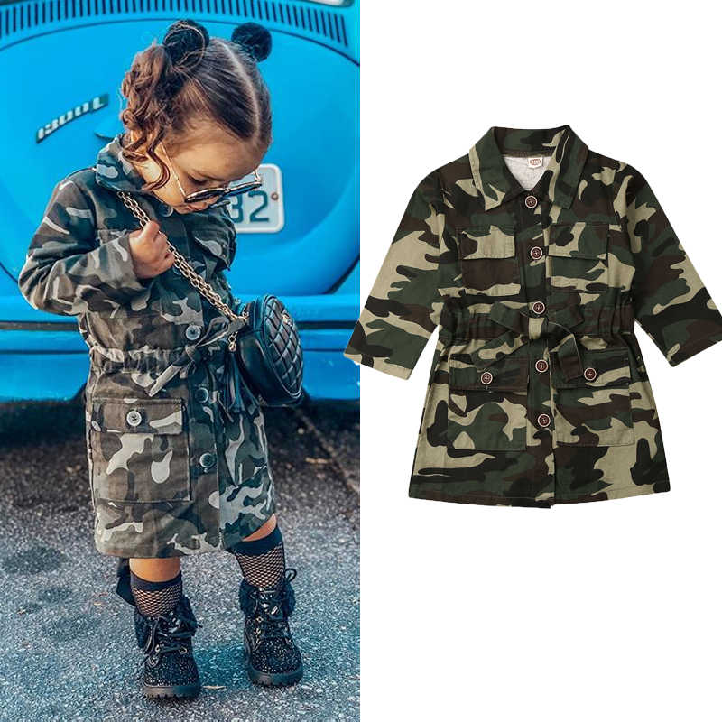 1-6Y Toddlers Girls Jacket Long Sleeve Lapel Trench Casual Camouflage Print Jacket Coat Outwear