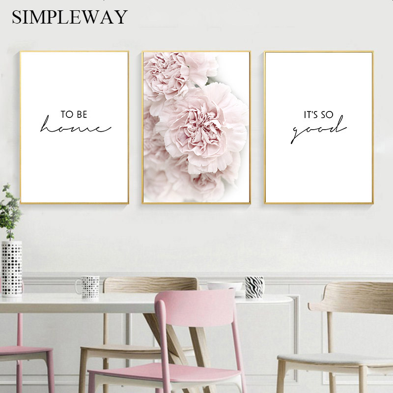Pink Peony Flower Botanical Poster Nordic Canvas Print Scandinavian Simplicity Painting Wall Art Picture For Living Room Decorat