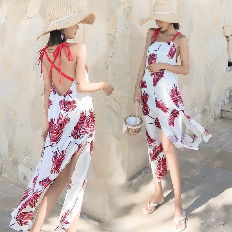 Seaside Holiday Bali Slimming Maldives Phuket Long Skirts Backless Strapped Dress