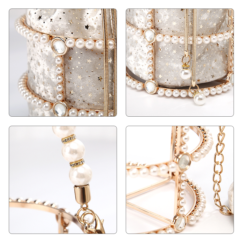 Image 5 - Hollow Out Pearl Bucket Evening Bag Women 2019 Luxury Designer Korean Handmade Alloy Metallic Clutch Bag Ladies Shoulder Bags-in Top-Handle Bags from Luggage & Bags