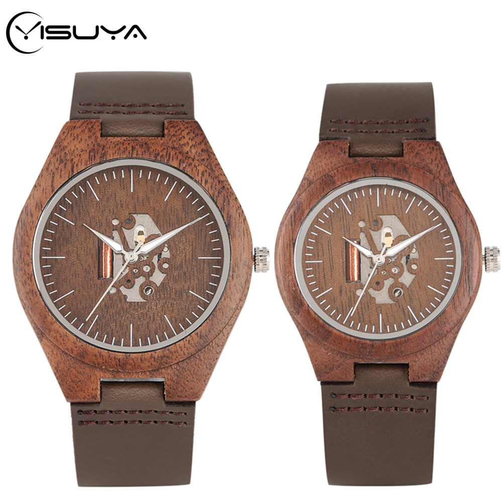 YISUYA Lover's Walnut Wood Watches Retro Stripe Exposed Skeleton Hollow Dial Clock Leather Wrist Clock Retro Reloj Couple Gifts