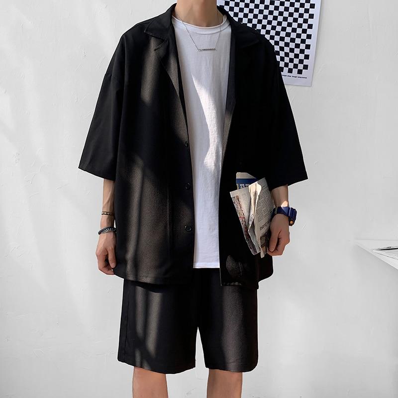 Korean Style Men's Set Suit Jacket With Shorts Summer Men Clothes Oversized Short Sleeve Blazer Knee-Length Short Pant For Men