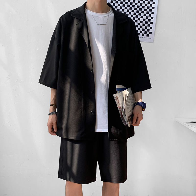 Korean Style Men's Set Suit Jacket With Shorts Summer Men Clothing Oversized Short Sleeve Blazer Knee-Length Pant For Men