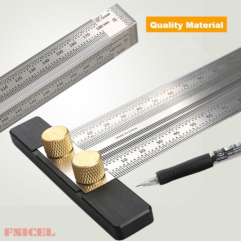 Woodworking Scribe Marking Line Gauge T-Type Ruler Square Miter 90 Degree Gauge Measuring Gauging Carpenter DIY Tools