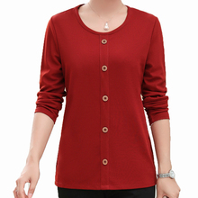Women Autumn Blouses Red Orange Solid Colour Simplicity Tops Botton Front Design Round Collar Long Sleeve Bottoming Shirts Women