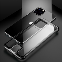 Metal Bumper Tempered Glass Phone Case For iPhone 11 Pro Max Luxury Clear Alumium Frame Back Cover Apple 11Pro Shockproof Funda