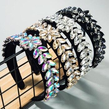 Hot Selling New Rhinestone Bling Headbands AB Colors Crystal Flower Geometric Diamond Headband for Women 2020 Hair Accessories