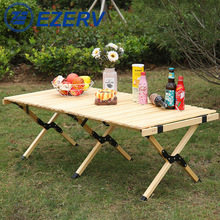Outdoor Folding Wood Table Camping Portable Foldable Picnic  Roll Wooden  Picnic,Camp,Travel,Garden BBQ rv accessories