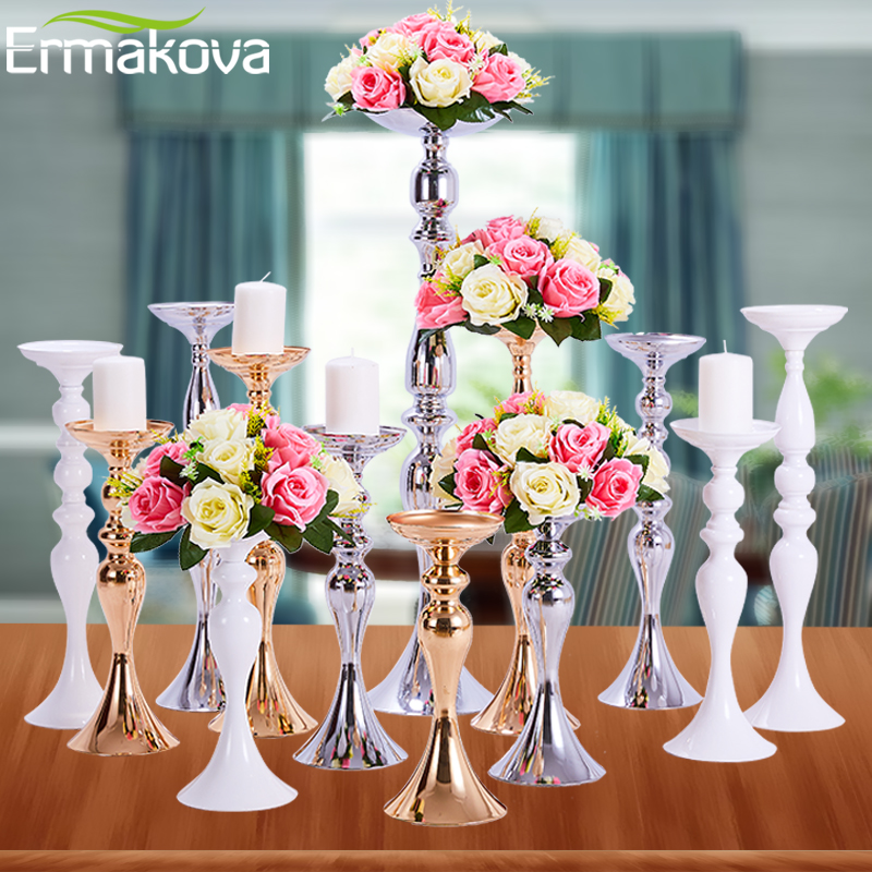 ERMAKOVA Candle Holders Stand Column Candlestick Event Road Lead Flower Vase Rack Table Wedding Centerpieces Party Dinner Decor