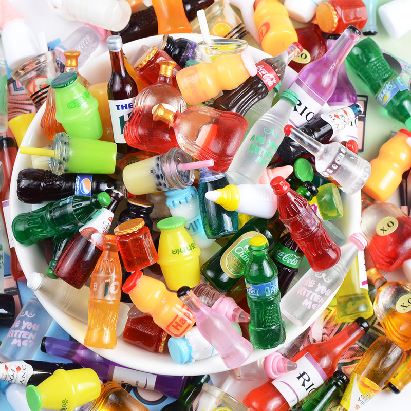 10Pcs Mixed Simulation Bottle Resin Cabochons Miniature Fake Food Flat Embellishment DIY Scrapbooking Accessories Jewelry Making