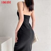 Tangada 2021 Fashion Women Solid Beige Black Backless Sweater Dress Sleeveless O Neck Ladies Midi Dress AI73 3
