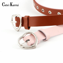 Catei Karrui Leather alloy heart belt women's Korea lovely b