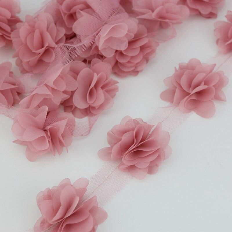 (120 pieces/lot) pink petal Chiffon lace fabric Webbing Decoration Love gift ribbons crafts 50mm width(China)