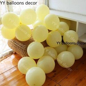 Image 4 - 110pcs פסטל 10 אינץ מאקה צהוב לבן בלון 1 קשת חתונה תינוק מקלחת מסיבת יום הולדת רקע קלטת קיר הגלובלי דקור