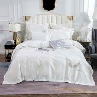 Svetanya Milky White Feathers Bedding Set Embroidery Egyptian Cotton Bedlinens Queen King Size Duvet Cover Set