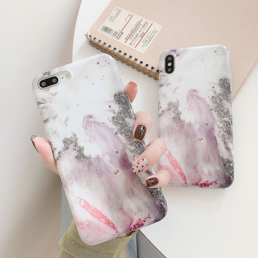 ELALA Glossy Phone Case For iPhone 7 X Flower Butterfly Pattern Glitter Marble iphone XR XS Max 6 S 8Plus