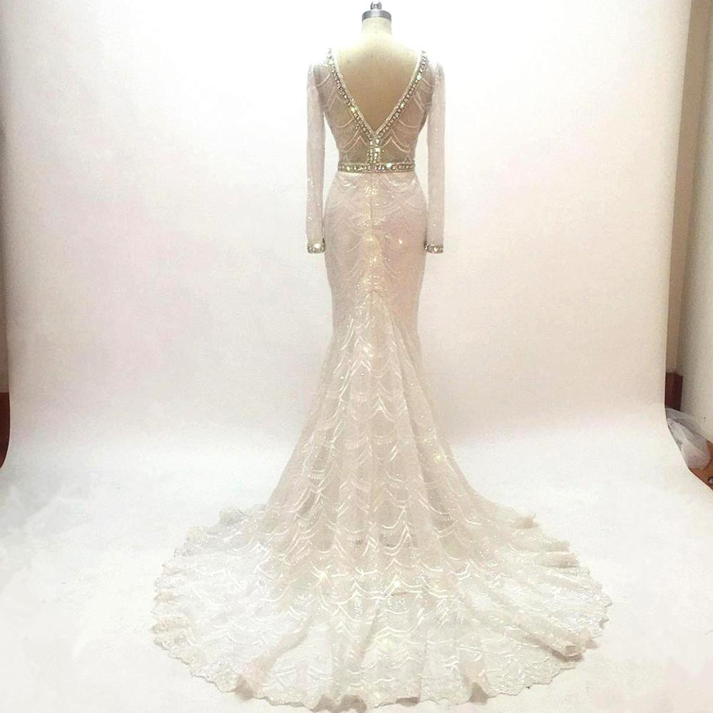 Backless V Neck White Mermaid Wedding Dresses 2020 Illusion Luxury Crystals Beading Embroidery Lace Bridal Gowns Long Sleeves