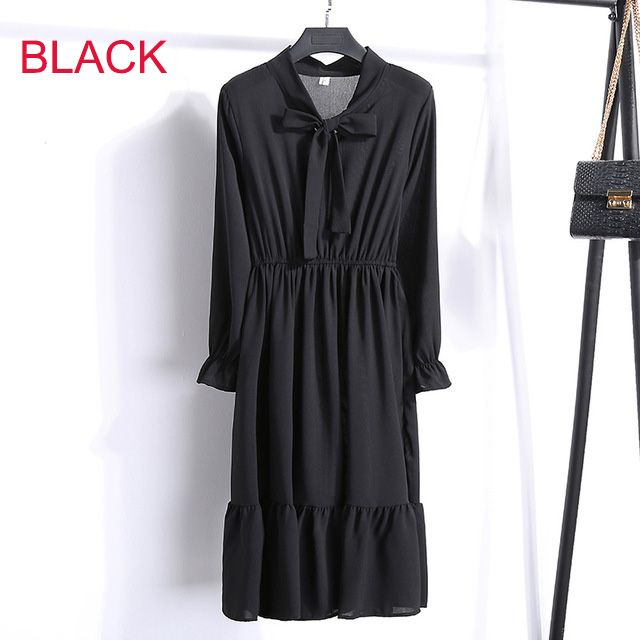 Korean Black Shirt Vestidos Office Polka Dot Vintage Autumn Dresses Women Winter Dress 19 Midi Floral Long Sleeve Dress Female 84