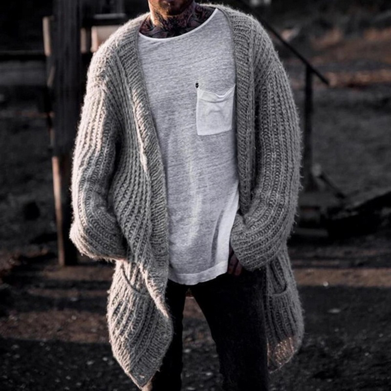 2020Thick Sweaters Cardigan Coat Men Slim Fit Jumpers Knit Warm Winter Autumn Midi Sweatercoat Men Long Solid Sweater Coat