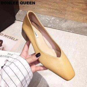 Image 5 - Donlee queen 두꺼운 뒤꿈치 신발 여성 펌프 스퀘어 발가락 작업 신발 슬립 하이힐 가을 신발 얕은 신발 zapatos de mujer