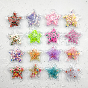 Hot sale 14pcs/lot 5cm Star Transparent Bling bling Star Flowing Patches Appliques for DIY Children Hair Clip Accessories(China)