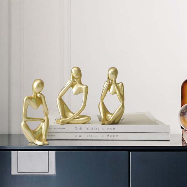 Abstract Thinker Statue Resin Sculpture Miniature Figurines Thinker Character European Style Office Home Decoration Accessories 3