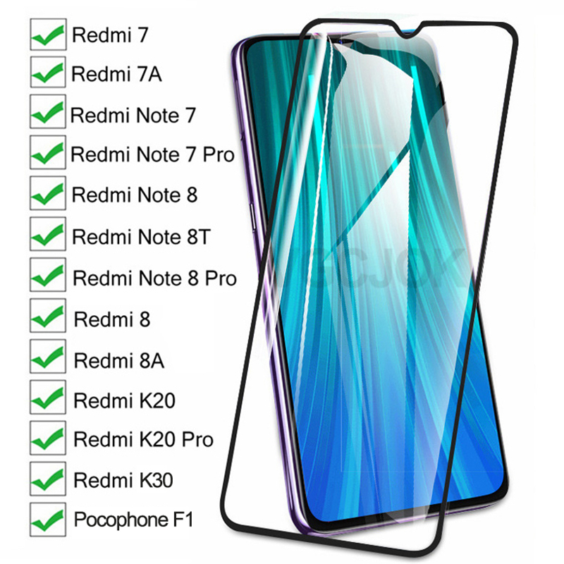 9D Full Protective Glass On The For Xiaomi Redmi 8 7 7A 8A K20 K30 Redmi Note 8 8T 7 Pro Pocophone F1 Tempered Screen Glass Film 1