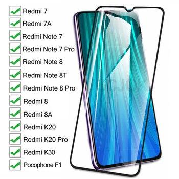 Перейти на Алиэкспресс и купить 9D полное Защитное стекло для Xiaomi Redmi 8 7 7A 8A K20 K30 Redmi Note 8 8T 7 Pro Pocophone F1 закаленное стекло для экрана