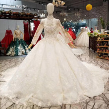 LS014651 light champagne high neck wedding dress long sleeve bridal wedding gown can add lining for muslim 2018 latest design(China)