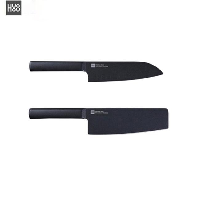 Orijinal Huohou serin siyah mutfak değil yapışkan bıçağı 2 adet paslanmaz çelik kesme makinesi seti